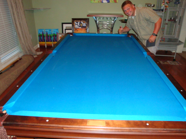 WEM Distributors Before After Of - Electric blue pool table