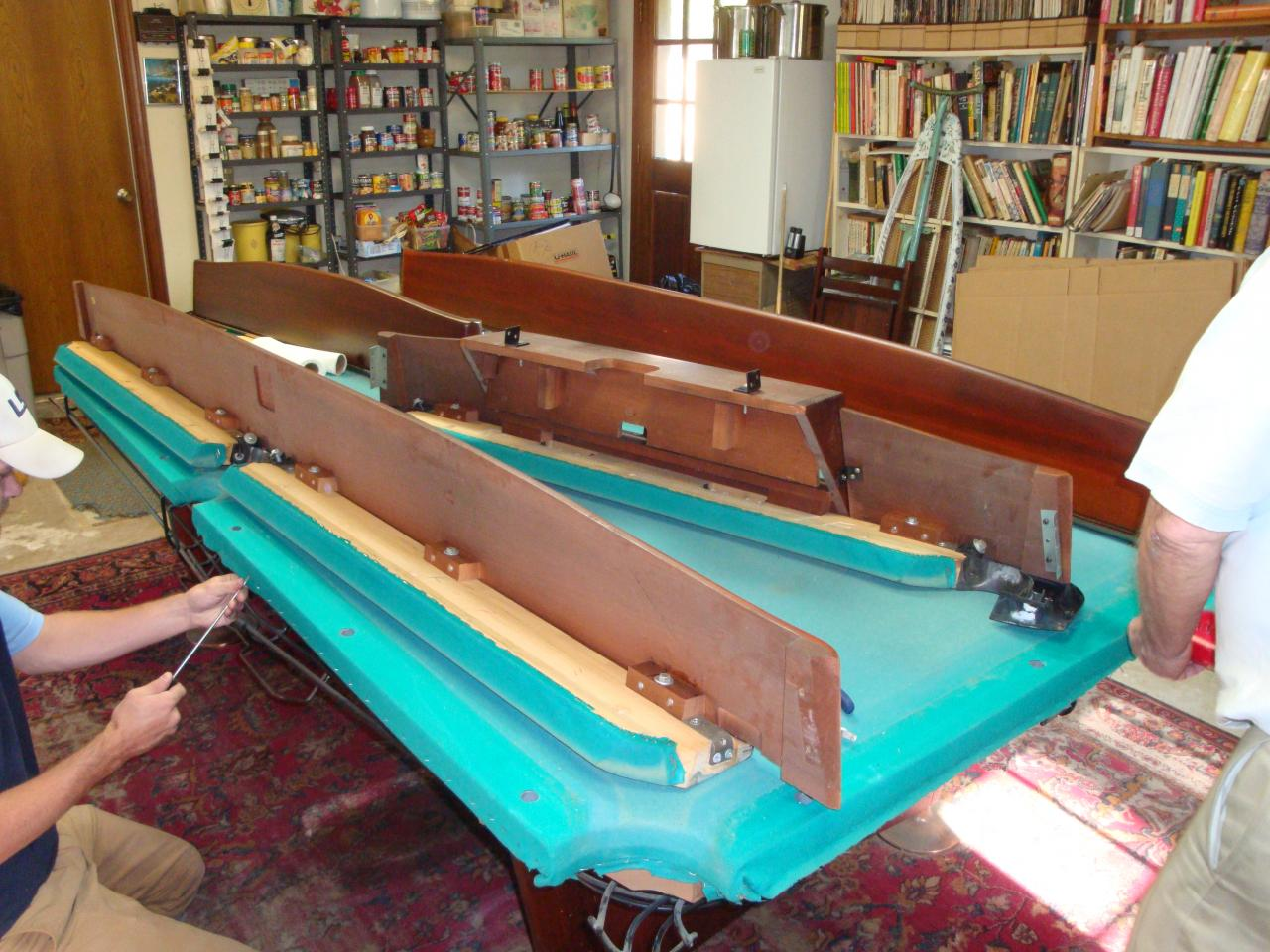 WEM Distributors Before After Of - Brunswick gold crown pool table