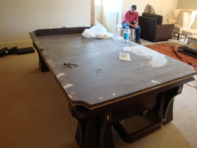 WEM Distributors Before After Of - Brunswick pool table disassembly